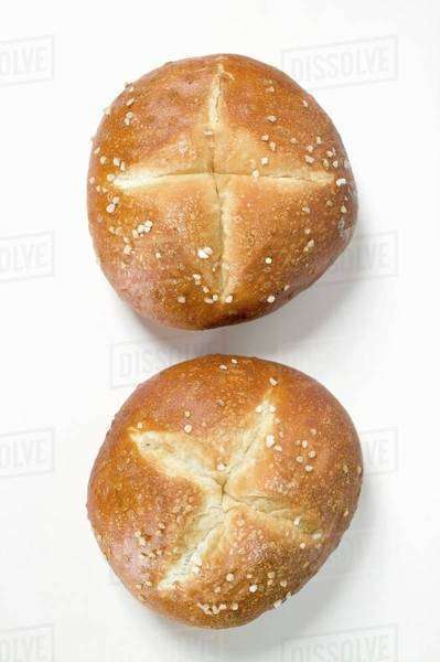 Two salted pretzel rolls Royalty-free stock photo