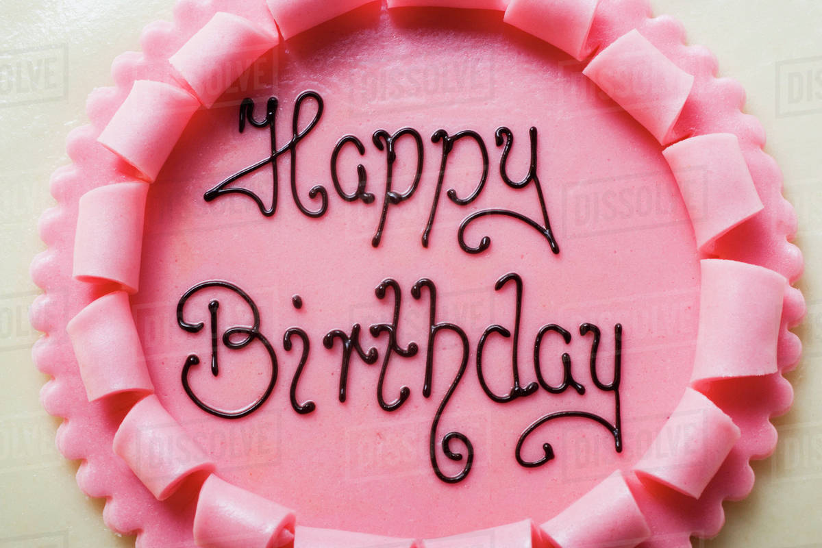 Birthday Cake With The Words Happy Birthday Close Up