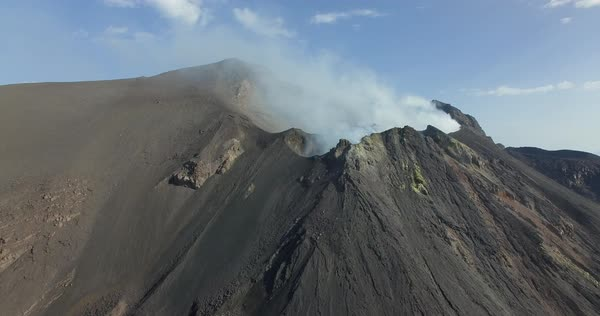 Aerial shot of volcano Stromboli in Italy Royalty-free stock video