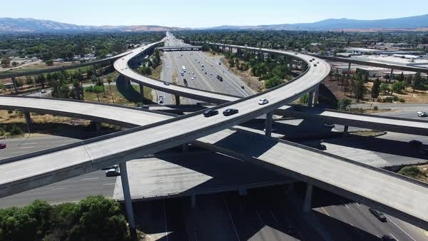 Medium shot of large highway intersection in San Jose CA, USA Royalty-free stock video