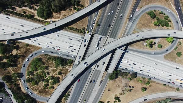 Wide shot of large highway junction in San Jose CA, USA Royalty-free stock video