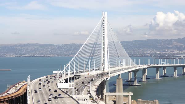 Medium shot of San Francisco-Oakland Bay Bridge in San Francisco bay CA, USA Royalty-free stock video