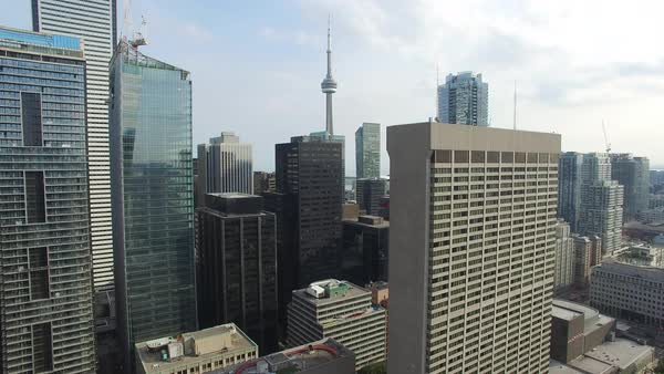 Wide shot of high-rise buildings in downtown Toronto, Ontario, Canada Royalty-free stock video