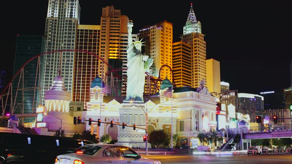 Timelapse of New York-New York Hotel and Casino in Las Vegas Royalty-free stock video