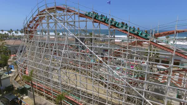 Aerial shot of a roller coaster in San Diego Royalty-free stock video