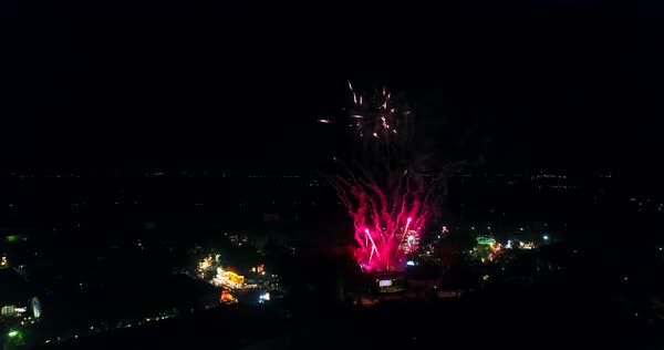 Aerial shot of fireworks on Coney Island Royalty-free stock video