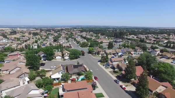 Aerial shot of a suburb of Sacramento Royalty-free stock video