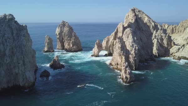 Aerial shot of the Arch of Cabo San Lucas Royalty-free stock video