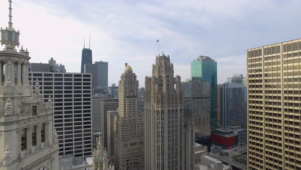 Drone shot of Tribune Tower and Wrigley Building in Chicago Royalty-free stock video