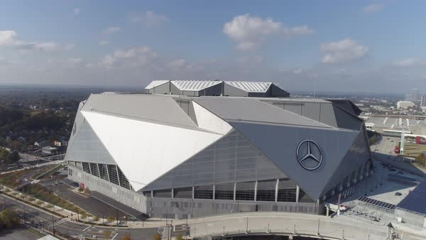 Aerial shot of Mercedes-Benz Stadium in Atlanta Royalty-free stock video