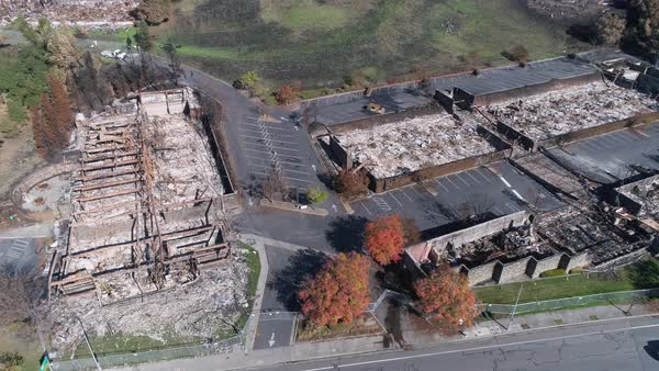 An aerial shot of burnt remains of houses after the Tubbs Fire at Santa Rosa, California Royalty-free stock video