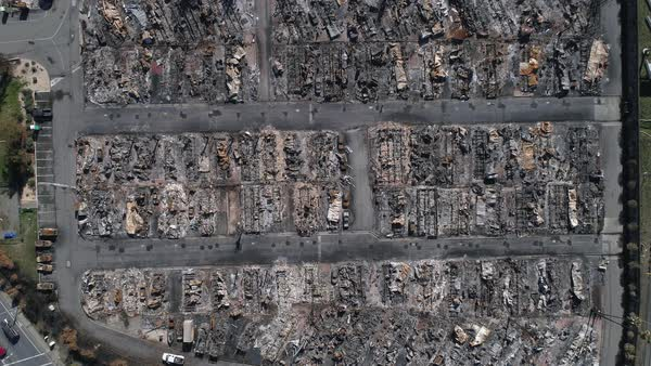Burnt remains of houses and cars after the Tubbs Fire at Santa Rosa, California Royalty-free stock video