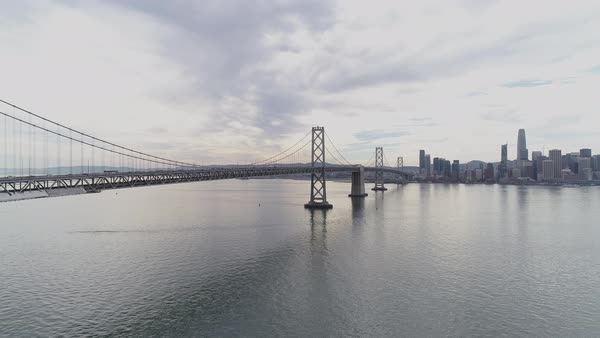 Static shot of San Francisco–Oakland Bay Bridge with city in background Royalty-free stock video