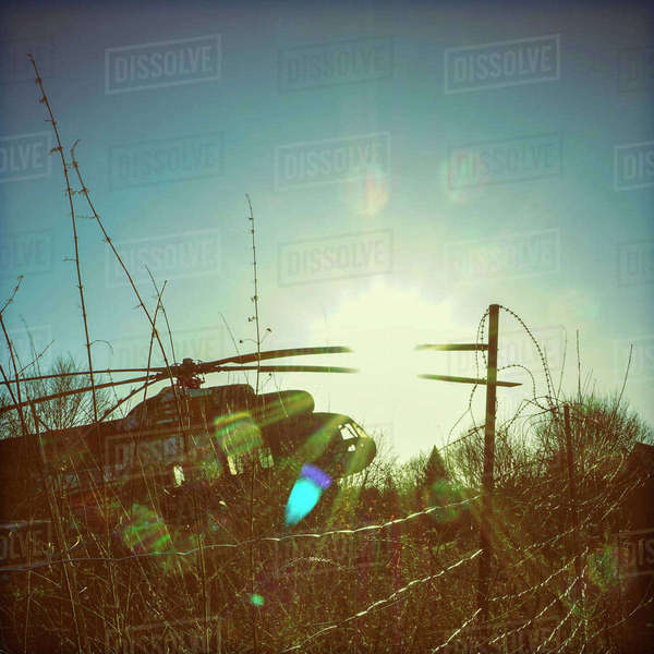 Germany, Bad Oeynhausen, decommissioned military helicopter Rights-managed stock photo