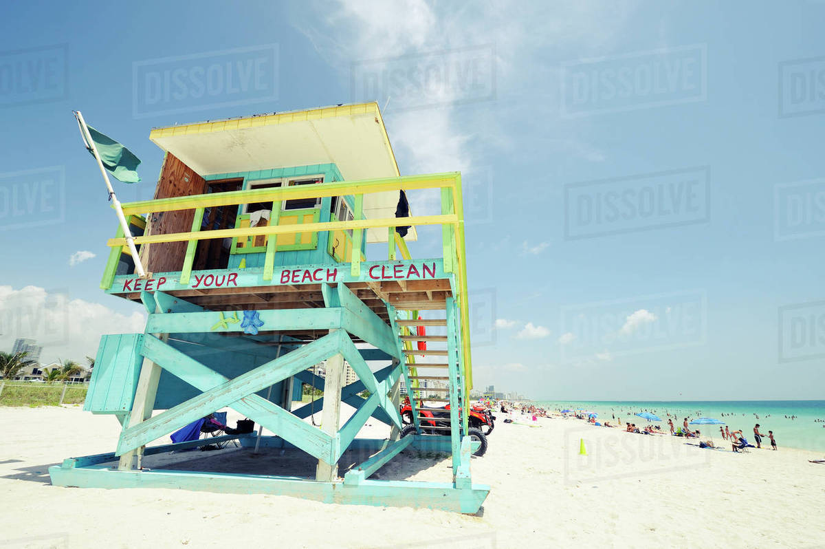 Usa Florida Miami Beach Liuard Hut At South