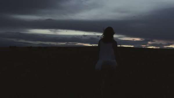 Handheld shot of a woman walking on a meadow under cloudy sky Royalty-free stock video