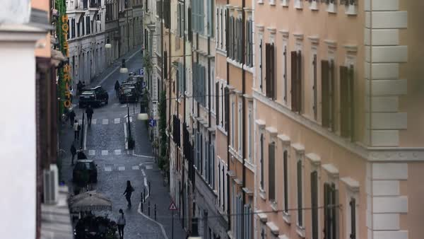 Wide shot of traffic on a street in Rome, Italy Royalty-free stock video