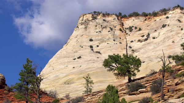 View of cliff in Zion National Park as clouds blow by. Royalty-free stock video