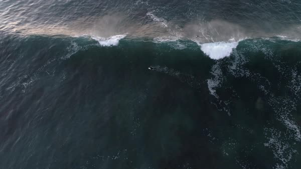 Aerial view of surfer on waves in Norway Royalty-free stock video