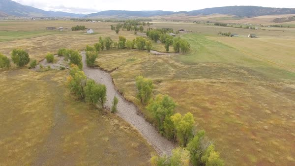 Flying backwards over tree tops growing next to winding riverbed in Star Valley Wyoming. Royalty-free stock video