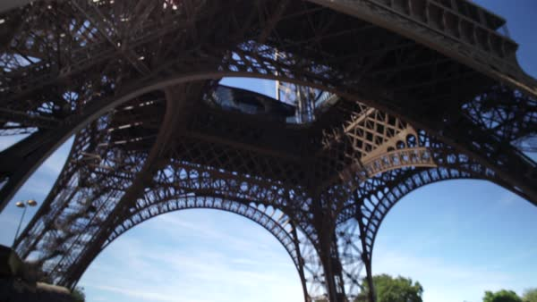 Close-up shot of a blonde woman at the Eiffel Tower in Paris, France Royalty-free stock video