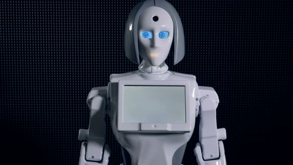 A white robot bows in greeting.  Royalty-free stock video