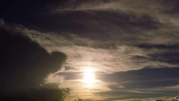 Sky sunset timelapse through dark heavy storm clouds Royalty-free stock video
