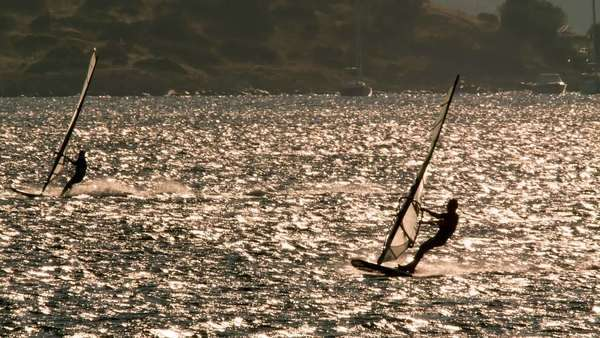 Wind surfing, surfers in the open sea at sunset on a bright day. Royalty-free stock video