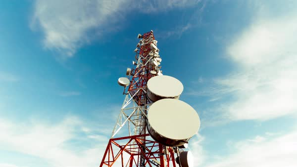 Low angle vertical view of communication towers Royalty-free stock video