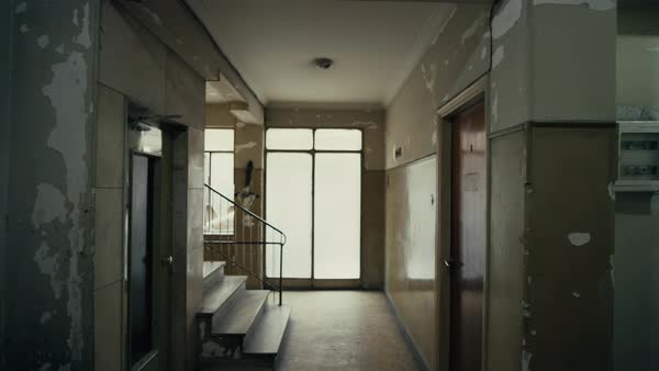 pov walk on the corridor of an old apartment building long and dark hallway ahead stock video. Black Bedroom Furniture Sets. Home Design Ideas