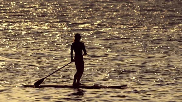 Woman silhouetted doing stand up paddle in the open sea at sunset Royalty-free stock video