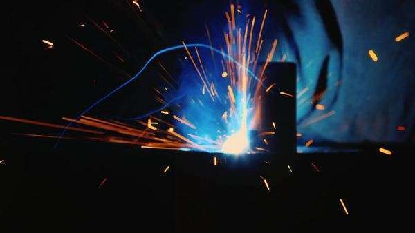 Close-up of welding with many hot sparks Royalty-free stock video
