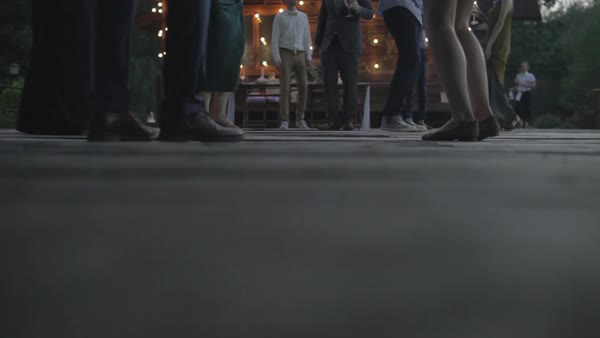 Medium close-up shot of guests dancing at wedding Royalty-free stock video