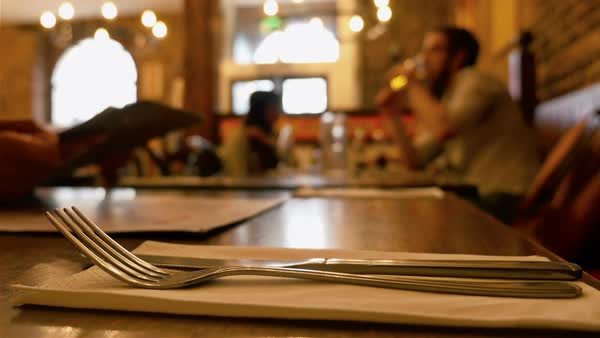 Dinner in a restaurant. Group of people eating and talking. Gourmet food. Knife and fork in the front - Stock Video Footage - Dissolve