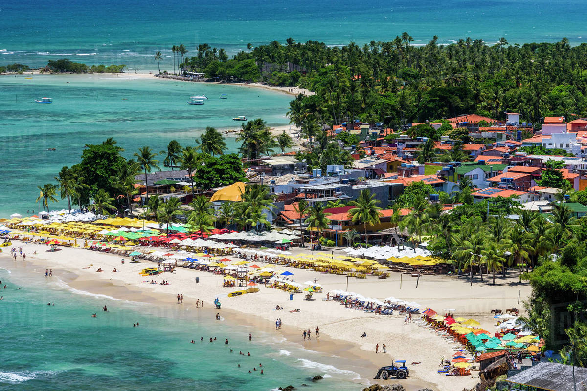 View of tropical beach in Morro de Sao Paulo, south Bahia state, Brazil Royalty-free stock photo