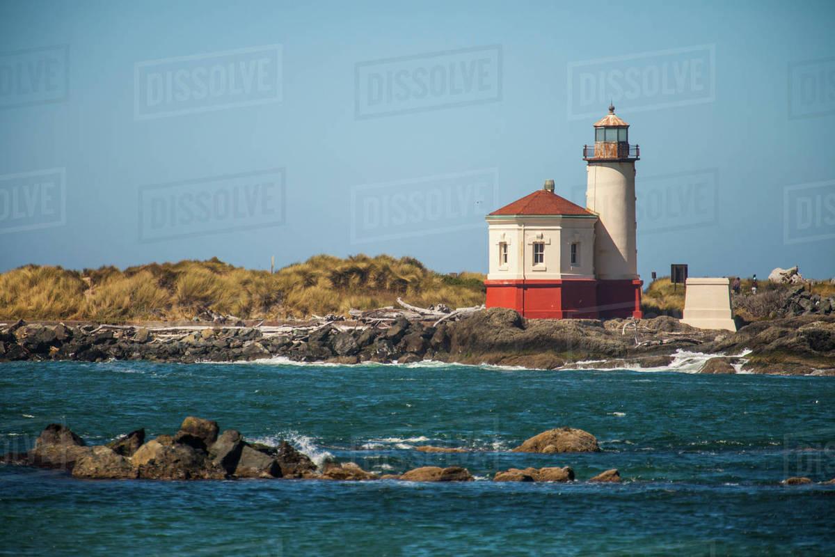 Exterior Of Lighthouse Under Clear Sky At Bullards Beach State Park Oregon Usa