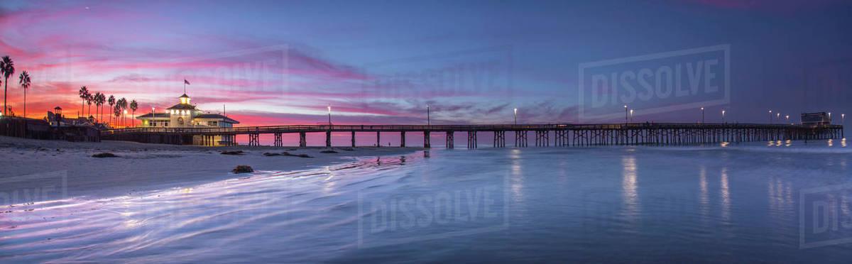 Panorama Of Newport Beach Pier At Dawn Orange County California Usa