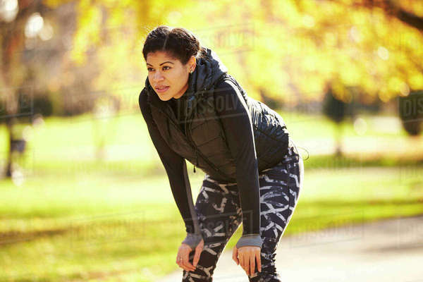 Athlete Woman Standing In Park Royalty-free stock photo