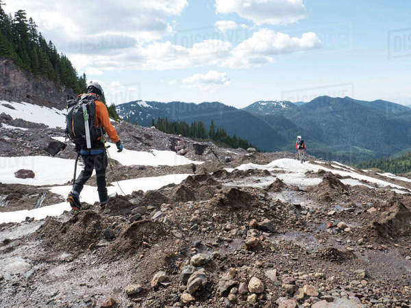 Two Men Hiking In Coleman Glacier On Mount Baker, Washington, Usa Royalty-free stock photo