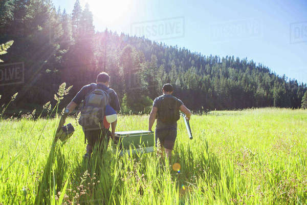 Two Male Friends Heading To Their Fishing Spot, Nevada, Usa Royalty-free stock photo