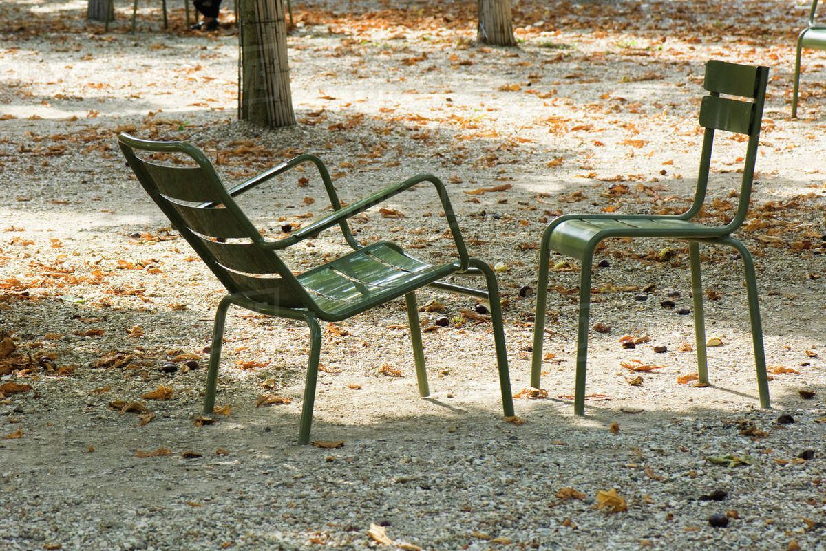 Awesome France Paris Metal Chairs Set Face To Face In Park Stock Photo Interior Design Ideas Lukepblogthenellocom