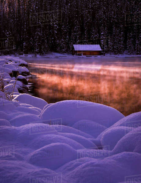 Winter shot of small cabin in Lake Louise, Banff, Alberta, Canada. Royalty-free stock photo