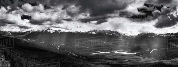 Black and white panoramic shot of Bow Valley in Banff National Park. Royalty-free stock photo