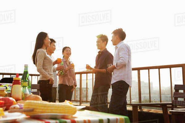 Sunset at Rooftop Barbecue Royalty-free stock photo