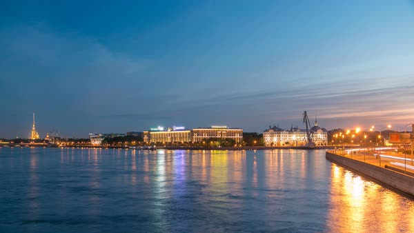 Nakhimov Naval School and the Peter and Paul Fortress, the view from the Liteyniy bridge without Aurora day to night timelapse. St. Petersburg. Reflection in water of Neva Royalty-free stock video