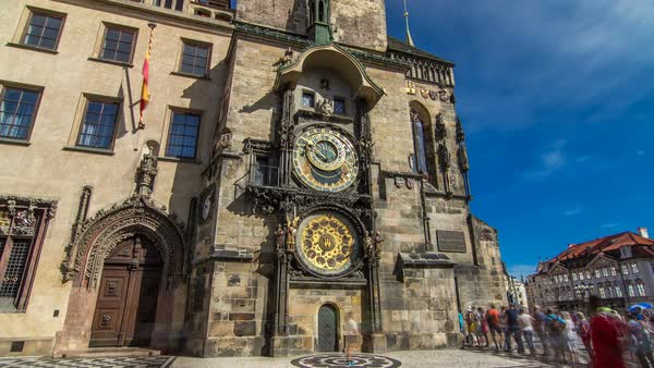Prague Astronomical Clock timelapse hyperlapse, medieval astronomical clock, on the southern wall of Old Town City Hall in the Old Town Square, Prague, Czech Republic Royalty-free stock video