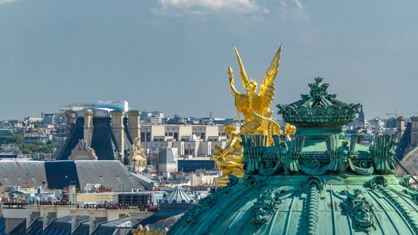 Top view of Palais or Opera Garnier The National Academy of Music timelapse in Paris, France. Aerial view from rooftop at sunny summer day. It is a 1979-seat opera house, which was built from 1861 to 1875 for the Paris Opera. Royalty-free stock video
