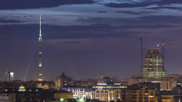 Ostankino Communication Tower in Moscow timelapse at night. Royalty-free stock video