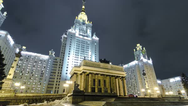 The Main Building Of Moscow State University On Sparrow Hills At Winter timelapse hyperlapse at Night, Russia Royalty-free stock video