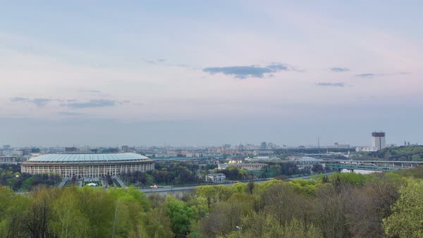 Panoramic view of Moscow City, Russia, from Sparrow Hills after sunset day to night transition timelapse Royalty-free stock video